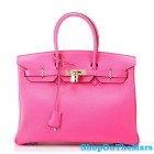 Hermes 1:1 Design Birkin Clemence Leather Bag Peachblow
