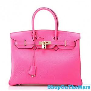 Hermes 1:1 Design Birkin Clemence Leather Bag Peachblow