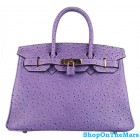 Hermes Birkin 30cm Ostrich Veins Bag Purple with Gold HW