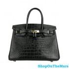 Hermes Black Birkin 30CM Bag Crocodile Leather With Gold HardWare