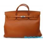 Rare Hermes Orange Birkin 50CM Bag Clemence Leather With Silver HardWare