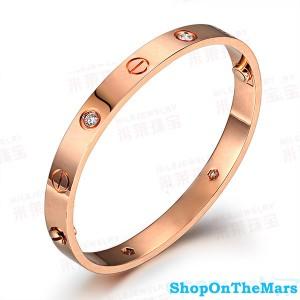 Cartier 18K Rose Gold Plated Love Bracelet With Diamonds