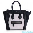 Celine Mini Luggage Calf Leather Black White Bag Rare