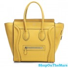 Celine Mini Luggage Calf Leather Yellow Bag Rare