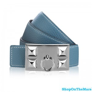 Hermes Clemence Leather CDC Belt Blue