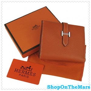 Hermes Bearn Mini Gusset Purse Clemence Leather Orange