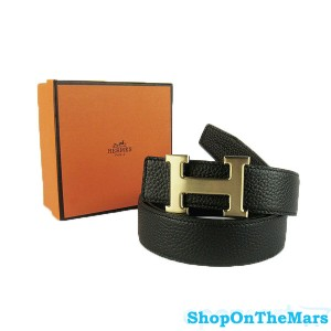 Hermes Black Reversible Clemence Leather H Belt