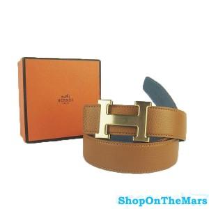 Hermes Brown / Blue Jeans Reversible Clemence H Belt