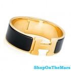 Hermes 18k Gold Plated Clic-Clac H Bracelet Black Enamel