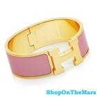 Hermes Gold Plated Clic-Clac H Bracelet Pink Enamel