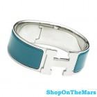 Hermes Silver Plated Clic-Clac H Bracelet Blue Enamel