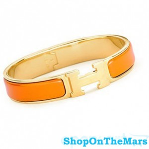 Hermes Gold Plated Clic Clac H Narrow Bracelet Orange Enamel