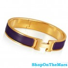 Hermes Gold Clic Clac H Narrow Bracelet Purple Enamel