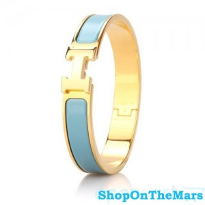 Hermes Gold Plated Clic Clac H Narrow Bracelet Blue Enamel