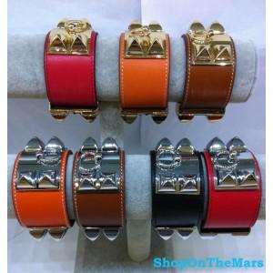 Hermes 24k Gold Plated Collier De Chien Cuff Leather Bracelet
