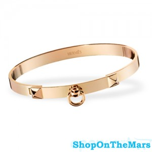 Hermes Collier de Chien Rose Gold Plated Bracelet