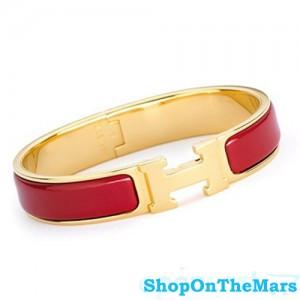 Hermes Gold Plated Clic Clac H Narrow Bracelet Red Enamel