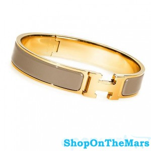 Hermes Gold Plated Clic Clac H Narrow Bracelet Taupe Enamel