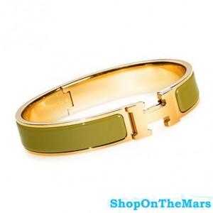 Hermes Gold Plated Clic Clac H Narrow Bracelet Green Enamel