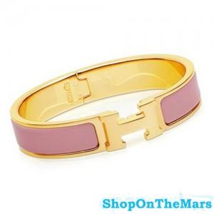 Hermes Gold Clic Clac H Narrow Bracelet Pink Enamel