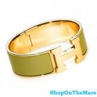 Hermes 18k Gold Plated Clic-Clac H Bracelet Green Enamel