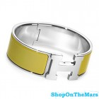 Hermes Silver Plated Clic-Clac H Bracelet Green Enamel