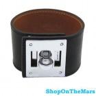 Hermes Kelly Dog Cuff Bracelet With Silver Palladium Hardware