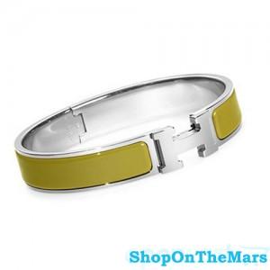 Hermes Sterling Silver Clic Clac H Narrow Bracelet Green Enamel