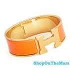Hermes 18k Gold Plated Clic-Clac H Bracelet Orange Enamel
