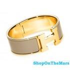 Hermes Gold Plated Clic-Clac H Bracelet Taupe Enamel