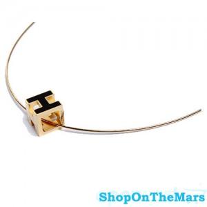 Hermes H Cube Black Enamel Gold Choker Necklace