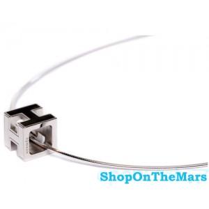 Hermes H Cube Black Enamel Silver Choker Necklace