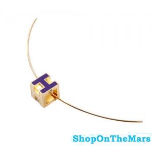 Hermes H Cube Purple Enamel 14K Gold Choker Necklace