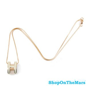 Hermes Gold Plated Fashion POP H Necklace White