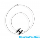 Hermes Silver Plated Fashion POP H Necklace Black
