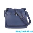 Hermes Jypsiere Navy Blue Unisex Leather Shoulder Bag Silver Hardware