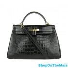 Hermes Black Kelly 32CM Bag Crocodile Leather With Gold HardWare