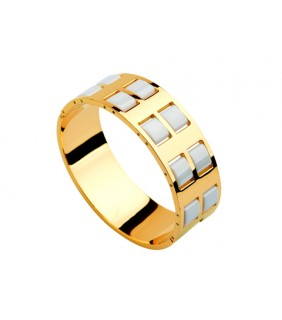 Bvlgari Wide Banlge in 18kt Yellow Gold with Helf White Ceramics