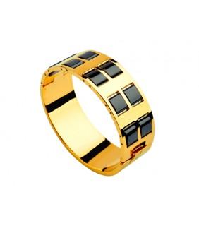 Bvlgari Wide Banlge in 18kt Yellow Gold with Helf Black Ceramics