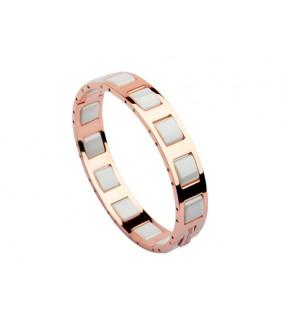 Bvlgari Bangle in 18kt Pink Gold with Full White Ceramics, Narrow