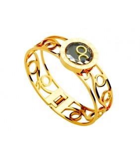 Inspired Designer Bvlgari Bangle in 18kt Yellow Gold with Swarovski Crystals