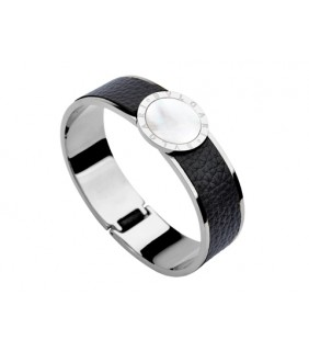 Bulgari-Bvlgari Wide Band Bangle in Steel and Black Leather with Mother of Pearl