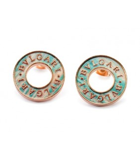 Bvlgari Stud Earrings in 18kt Pink Gold with Antique Bronze