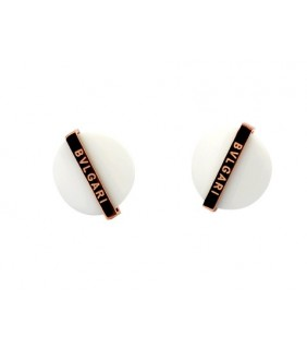 Bvlgari Stud Earrings with White Ceramic in 18kt Pink Gold