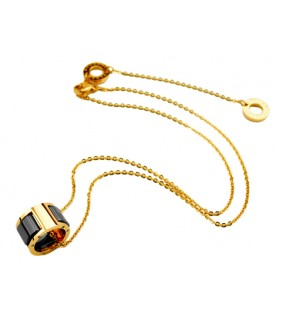 Bulgari Small Round Pendant with Chain in 18kt Yellow Gold with Black Ceramics