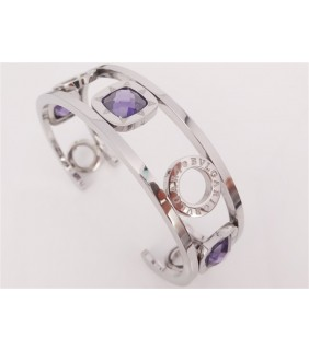 Bulgari Bulgari Cuff Bracelet in 18kt White Gold with Swarovski Crystal