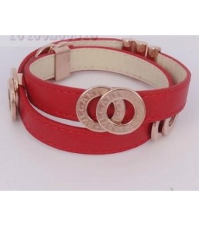 Bulgari Bvlgari Bracelet in 18kt Pink Gold with Red Leather