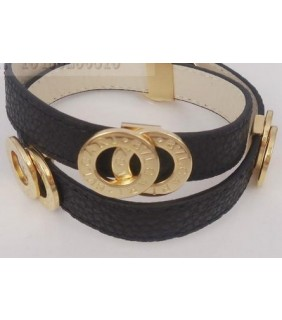 Bulgari Bvlgari Bracelet in 18kt Yellow Gold with Black Leather