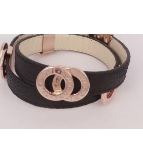 Bulgari Bvlgari Bracelet in 18kt Pink Gold with Black Leather