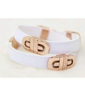 Bvlgari Parentesi Bracelet in 18kt Pink Gold With White Leather